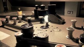Professional Retro Machine Table for broadcasting an old movie film, Working Progress. This is footage of Professional Retro Machine Table for broadcasting an stock video footage
