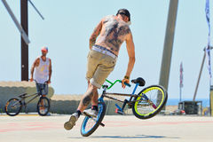 A professional rider at the BMX (Bicycle motocross) Flatland competitio Stock Photography