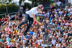 A professional rider at the BMX (Bicycle motocross) Flatland competition Royalty Free Stock Photos