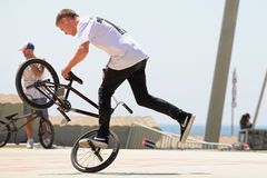 A professional rider at the BMX (Bicycle motocross) Flatland competition Royalty Free Stock Photography