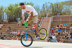 A professional rider at the BMX (Bicycle motocross) Flatland competition Stock Photo