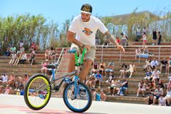 A professional rider at the BMX (Bicycle motocross) Flatland competition Stock Images