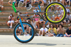 A professional rider at the BMX (Bicycle motocross) Flatland competition at LKXA Extreme Sports Barcelona Games Stock Photos