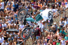 A professional rider at the BMX (Bicycle motocross) Flatland competition at LKXA Extreme Sports Barcelona Games Royalty Free Stock Images