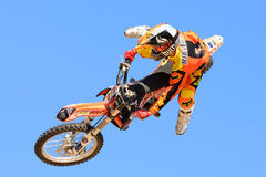 A professional rider at the FMX (Freestyle Motocross) competition Royalty Free Stock Photography