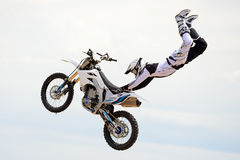 A professional rider at the FMX (Freestyle Motocross) competition Stock Photography
