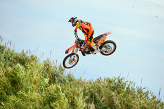 A professional rider at the FMX (Freestyle Motocross) competition Stock Image