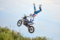 A professional rider at the FMX (Freestyle Motocross) competition Royalty Free Stock Images