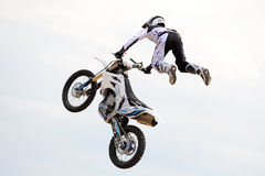 A professional rider at the FMX (Freestyle Motocross) competition Royalty Free Stock Photo