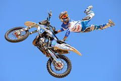 A professional rider at the FMX (Freestyle Motocross) competition at LKXA Extreme Sports Barcelona Games Royalty Free Stock Images