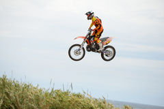 A professional rider at the FMX (Freestyle Motocross) competition at LKXA Extreme Sports Barcelona Games. BARCELONA - JUN 28: A professional rider at the FMX ( Royalty Free Stock Photography