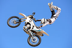 A professional rider at the FMX (Freestyle Motocross) competition at LKXA Extreme Sports Stock Photo