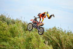 A professional rider at the FMX (Freestyle Motocross) competition at LKXA Extreme Sports Stock Photos