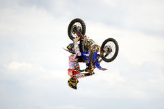 A professional rider at the FMX (Freestyle Motocross) competition at LKXA Extreme Sports. BARCELONA - JUN 28: A professional rider at the FMX (Freestyle Royalty Free Stock Image