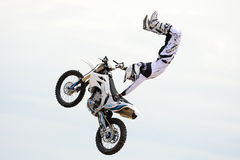 A professional rider at the FMX (Freestyle Motocross) competition at LKXA Extreme Sports Barcelona Stock Photography