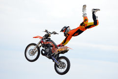 A professional rider at the FMX (Freestyle Motocross) competition at LKXA Extreme Sports Barcelona Stock Image