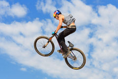 A professional rider at the MTB (Mountain Biking) competition Stock Photos
