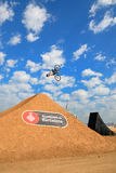 A professional rider at the MTB (Mountain Biking) competition Royalty Free Stock Photo