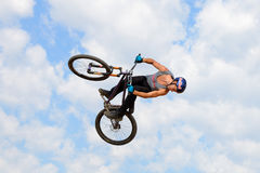 A professional rider at the MTB (Mountain Biking) competition Stock Photo