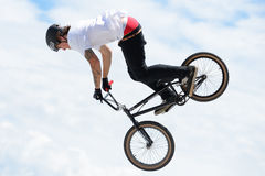A professional rider at the MTB (Mountain Biking) competition Royalty Free Stock Photography