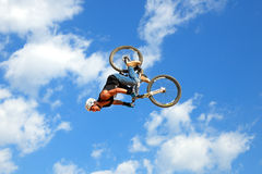 A professional rider at the MTB (Mountain Biking) competition on the Dirt Track Royalty Free Stock Photography
