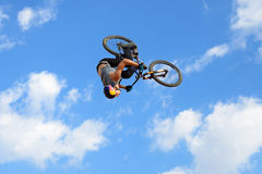 A professional rider at the MTB (Mountain Biking) competition on the Dirt Track Royalty Free Stock Photo