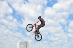 A professional rider at the MTB (Mountain Biking) competition on the Dirt Track at LKXA Extreme Sports Stock Image