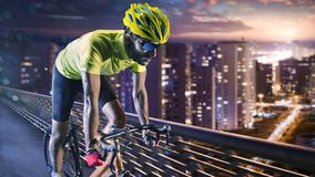 Professional road bicycle racer in action royalty free stock photo