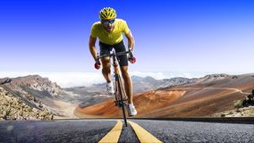 Professional road bicycle racer in action. Professional road bicycle racer in the action stock photography