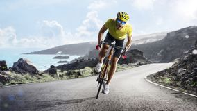 Professional road bicycle racer in action. Professional road bicycle racer in the action royalty free stock photo