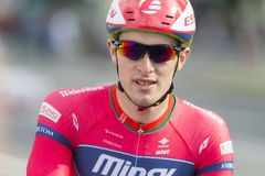 Professional Road Cyclist Evgeny Korolek Poses as a Winner of the International Road Cycling Competition Stock Photos