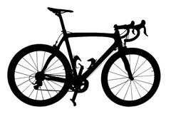 Professional Road Racing Bicycle Silhouette Isolation Royalty Free Stock Photos