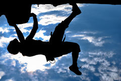Professional rock climber & climber silhouette Stock Image