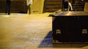 Professional Roller skate ramp sliding trick stock footage