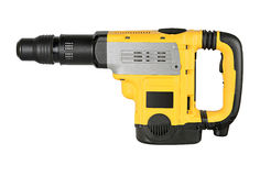 Professional rotary hammer with a drill on white background Royalty Free Stock Images