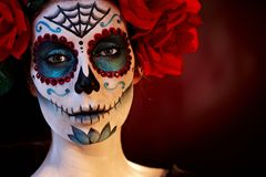 Professional santa muerte makeup Royalty Free Stock Photography