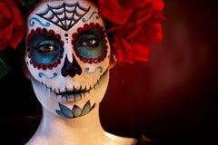 Professional santa muerte makeup royalty free stock photography