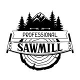Professional sawmill label with wood stump and saw. Emblem for forestry and lumber industry Royalty Free Stock Photos