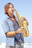 Professional saxophone player Royalty Free Stock Photo