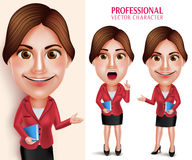 Professional School Teacher Vector Character Smiling Holding Books Stock Images
