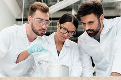 Professional scientists in lab coats making chemical experiment together. Team of professional scientists in lab coats making chemical experiment together royalty free stock image