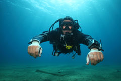 Professional scuba diver Royalty Free Stock Photography
