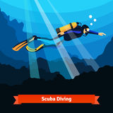 Professional scuba diver man underwater Royalty Free Stock Photography