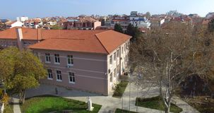 Professional secondary school in the ancient Pomorie in Bulgaria stock video