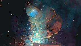 Professional semi automatic welding kit in a super slow motion