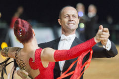 Professional Senior Dance couple Performs European Standard Program on the WDSF Baltic Grand Prix-2106 Championship Stock Photography