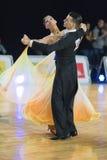 Professional Senior Dance couple Performs European Standard Program on the WDSF Baltic Grand Prix-2106 Championship Royalty Free Stock Image