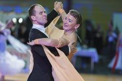 Professional Senior Dance couple Performs European Standard Program on the WDSF Baltic Grand Prix-2106 Championship Stock Photography