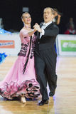 Professional Senior Dance couple Performs European Standard Program on the WDSF Baltic Grand Prix-2106 Championship Stock Photos