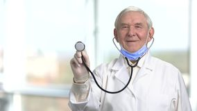 Professional senior doctor on light background. Smiling cheerful doctor holding a stethoscope stock video